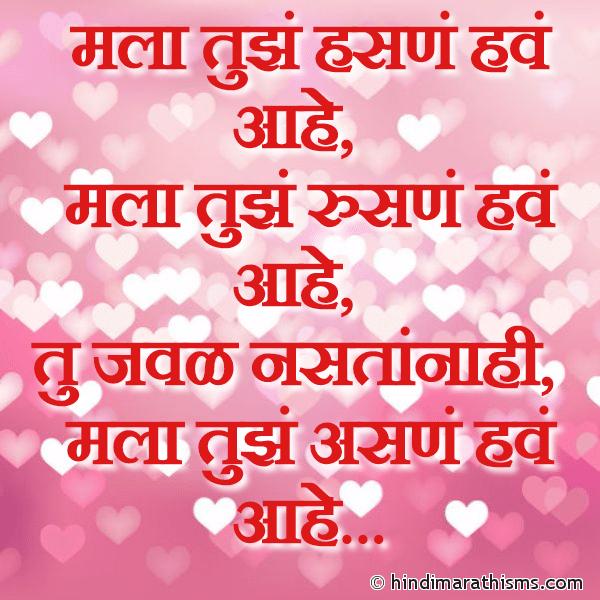 Mala Tujhe Hasne Have Aahe