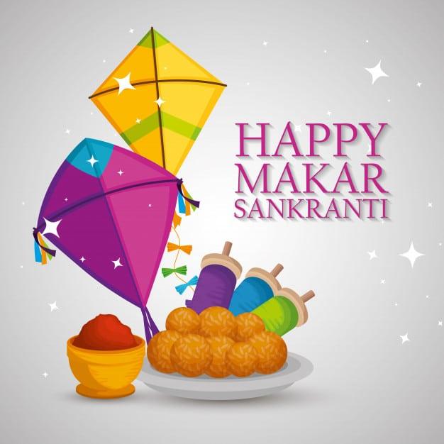 Happy Makarsankranti With Kites & Laddu